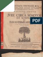 Christiani Thomasii - Tractatio Iuridica de Iure Circa Somnum Et Somnia