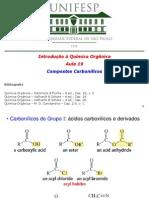 Aula 19 - Ácidos carboxílicos e derivados