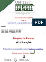 Aula 21 - Reatividade Carbonilicos Grupo I - Cont.