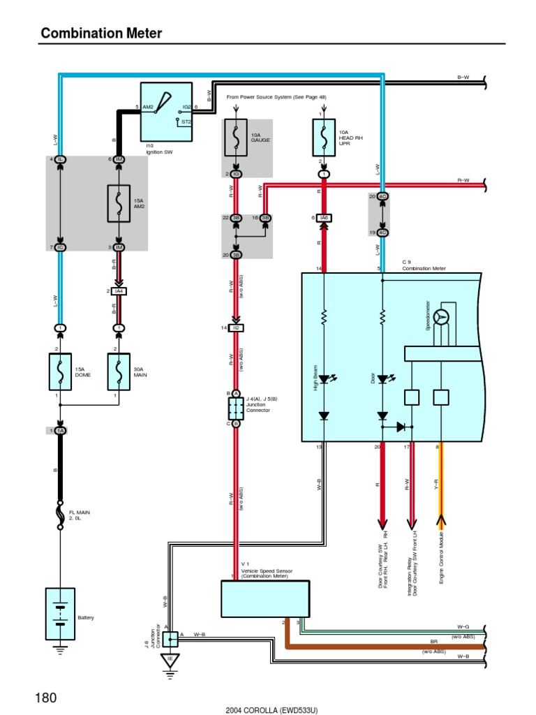 2004 Corolla Elecrtrical Diagrams Combination Meter See Page Wire Harness With Splice Points Code