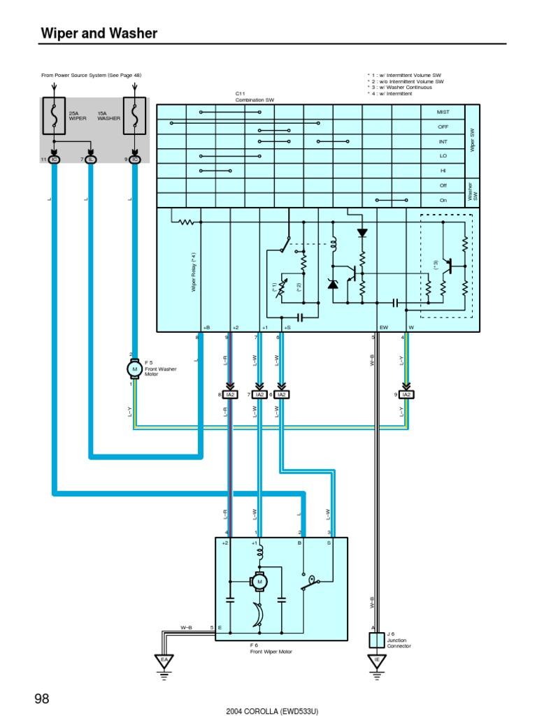 2004 Corolla Wiper and Washer Electrical Diagram | Machines | Electrical  EquipmentScribd