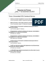 Resumen prensa CEU-UCH 11-12-2012