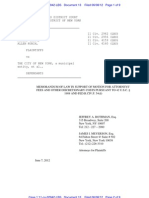 Memo of Law for Attorneys Fees in Civil Rights Suit Against NYPD