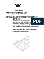 Brother Fax 910, 920, 921, 930, 931, 940, 945, MFC-925, 970, 985mc Parts Manual
