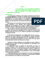 Tema 4a El Centro Ordinario y La Respuesta a Las Nee de Los Alumnos.
