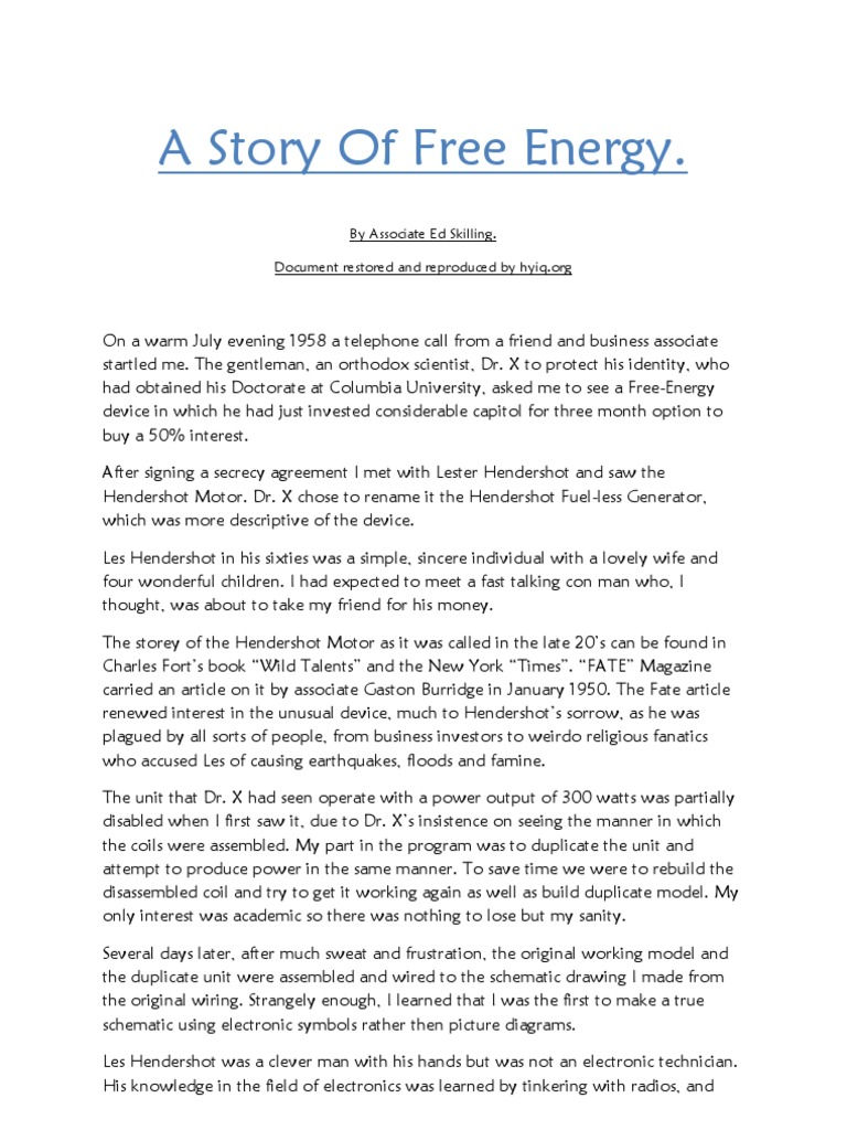 A Story of Free Energy - By ociate Ed Skilling on