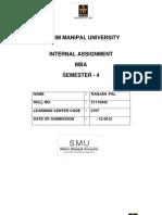 52, 53 SMU MBA Assignment IV Sem