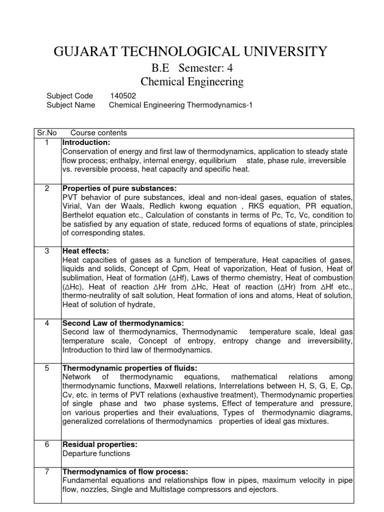 chemical engineering thermodynamics i heat gases