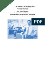 POLÍTICA DE ACESSO E USO DO LABORATÓRIO