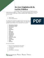 Decreto Con valor y Fuerza, De La Ley Organica de La Admin is Trac Ion Publica