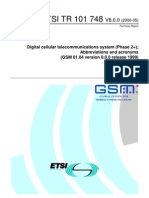GSM 01.04 Abbreviations and Acronyms
