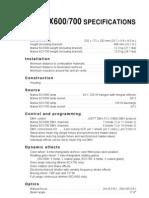 MARSCX600 Specifications