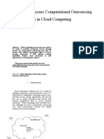 Analysis of Secure Computational Outsourcing Issues in Cloud Computing