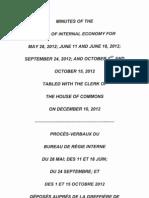 Minutes of the Board of Internal Economy - Procès-verbaux du Bureau de régie interne