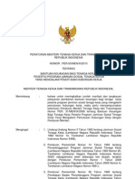 Permenaker Ttg Bantuan Keuangan Bagi Tenaga Kerja Peserta Program Jamsostek Yang Mengalami Phk
