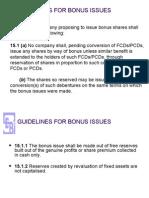 SEBI Bonus Guidelines
