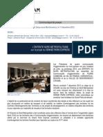 Communiqué de presse Entente Nord Métropolitain le 7 décembre 2012