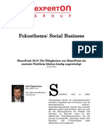 Experton Group Fokusthema Social Business;SharePoint 2010; Die Fähigkeiten von SharePoint als zentrale Plattform bleiben häufig ungewürdigt