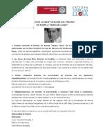 """XVII Edición. Bases. Concurso de Novela """"Mario Vargas Llosa"""". Obra Social. Caja Mediterráneo"""