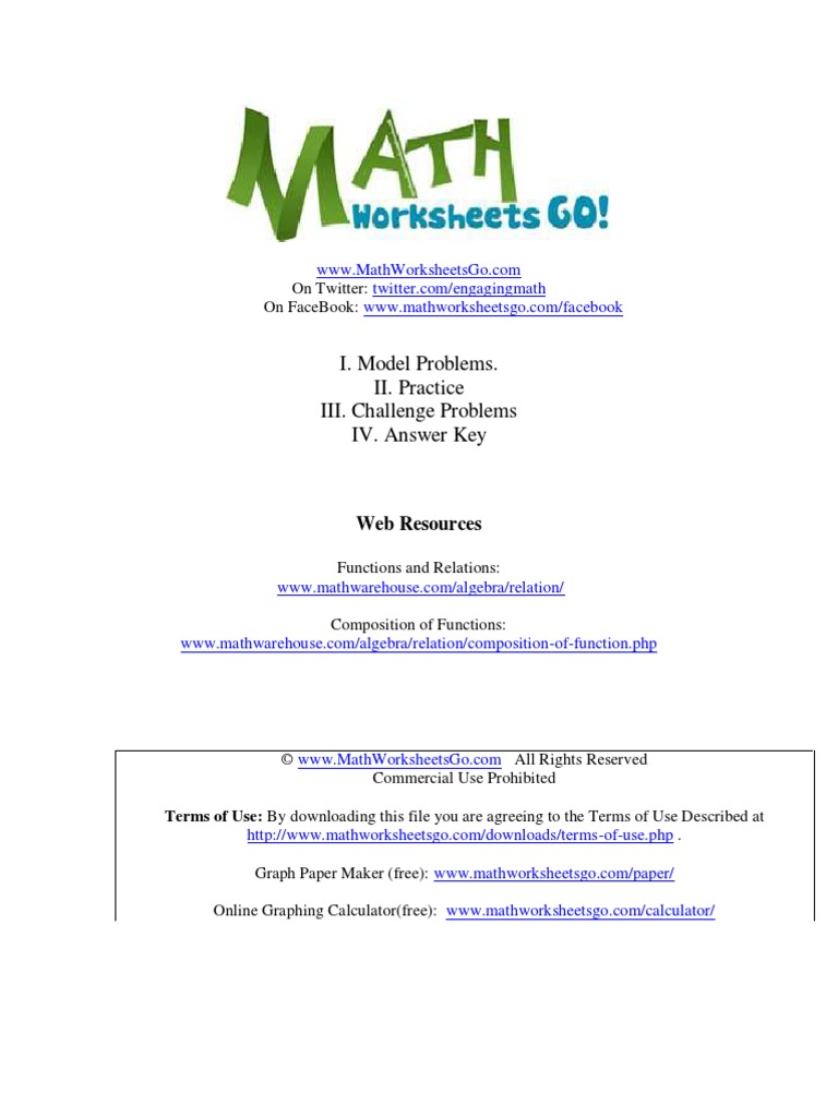 Composition Of Functions Worksheet Function Mathematics