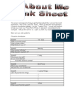 All About Me Think Sheet