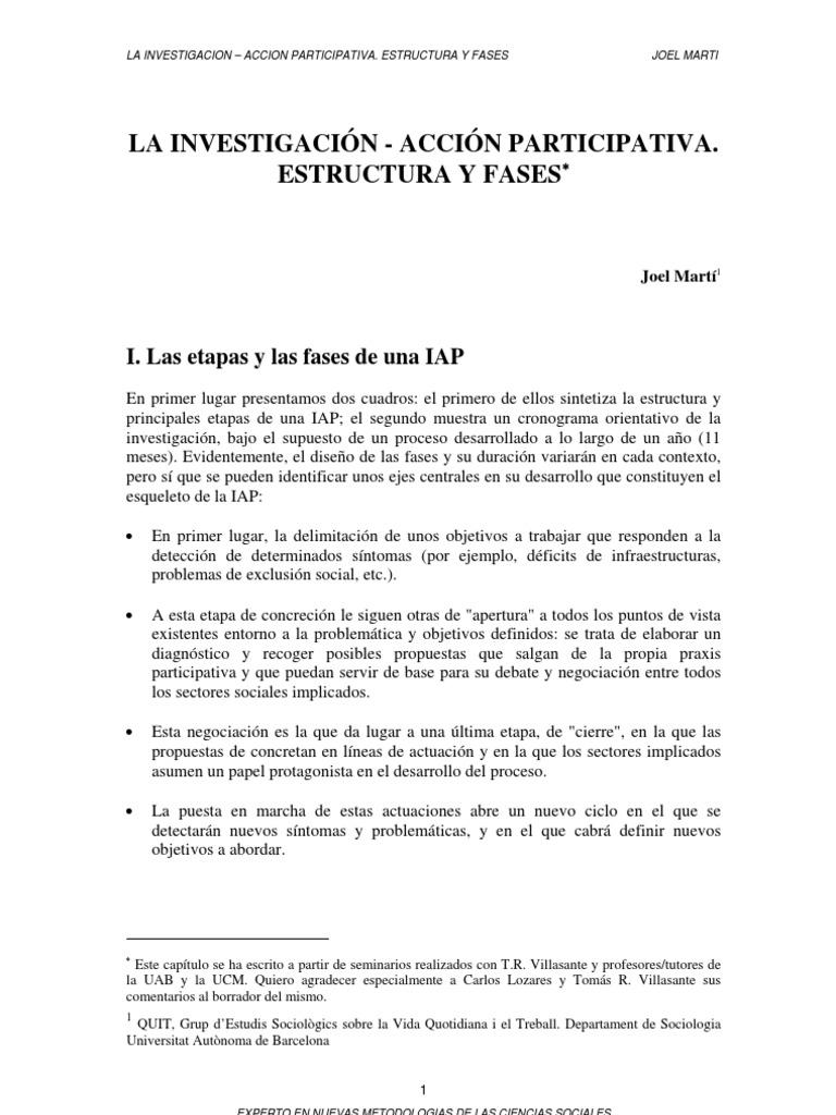 IAP Joel Marti - La Investigacion - Accion Participativa. Estructura ...