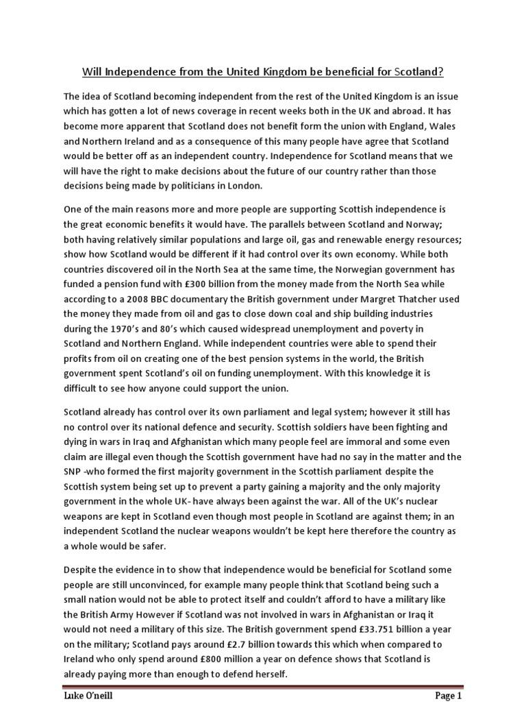 Should scotland be independent discursive essay order ancient civilizations biography