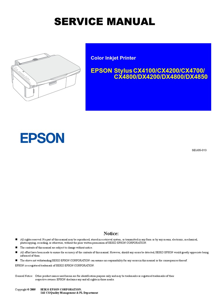 Epson CX4100 Service Manual. Stylus CX4100 | Secure Digital | Image Scanner