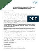 Opinión sobre la competencia de la organización internacional del trabajo para organizar y desenvolver los medios de producción agrícola
