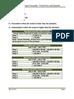 Materials Variance Formulas