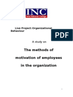 A Study on Methods of Motivation of Employees in an Organization