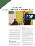 Joel Toussaint veut un Etat federal pour Maurice