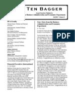 Georgetown College Ten Bagger Business Administration & Economics Newsletter 2012