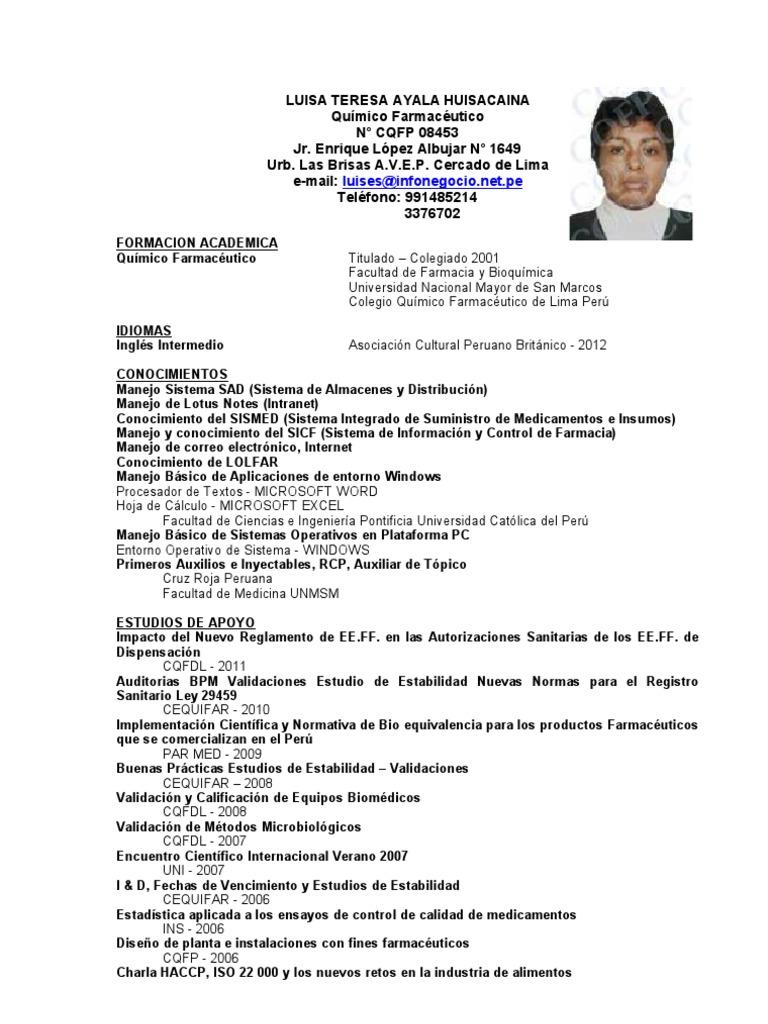 Único Plantillas De Curriculum De Tecnología De Farmacia Patrón ...