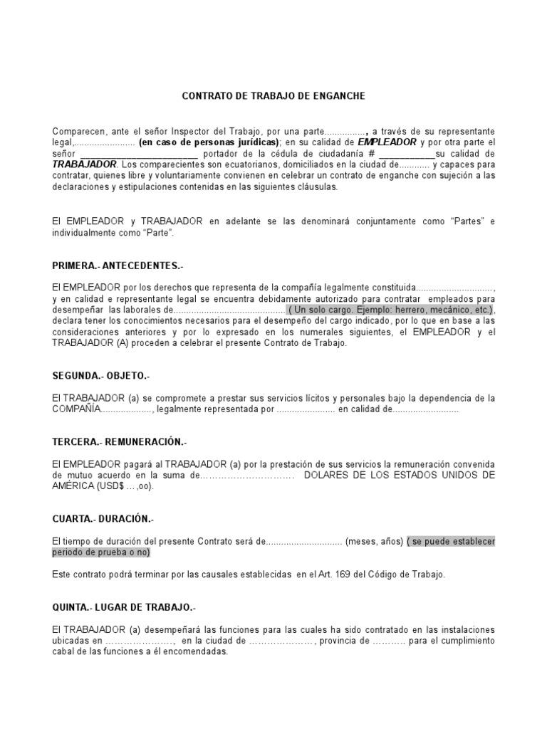 Contrato de enganche for Contrato trabajo