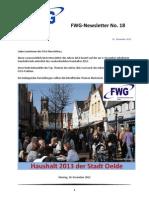 FWG Oelde - Newsletter Nummer 18 - Dezember 2012