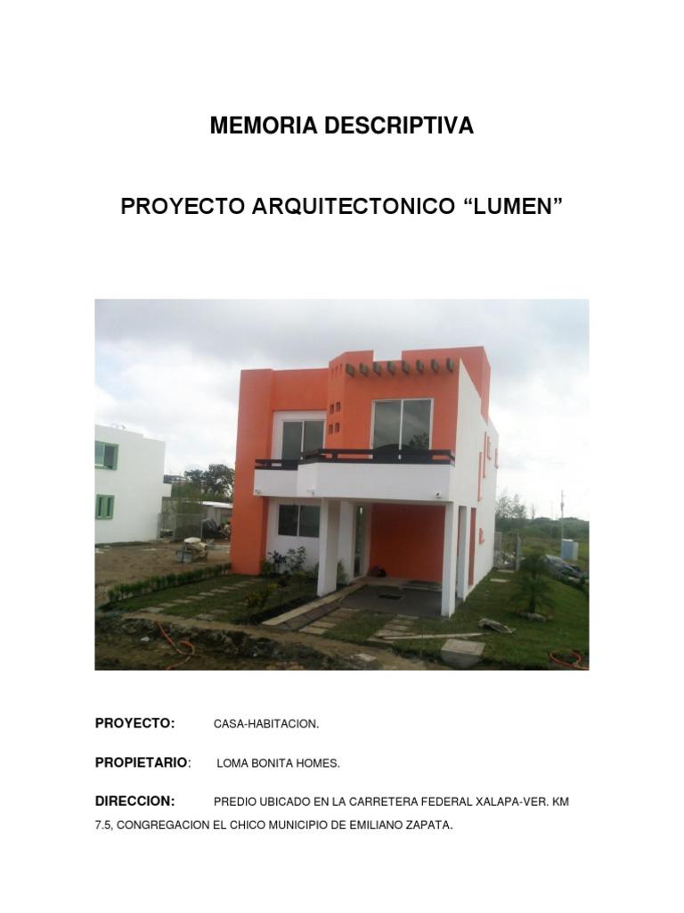 Memoria descriptiva casa habitacion for Proyecto casa habitacion minimalista