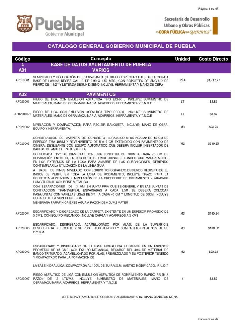 Catalogo pavimentospdf 2012 for Precio mano de obra colocacion tela asfaltica
