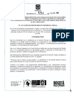 Decreto 564 del 10 de diciembre de 2012 de la Alcaldía Mayor de Bogotá, en Colombia.