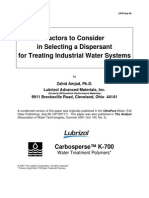 Factors to Consider in Selecting a Dispersant for Treating Industrial Water Systems