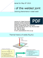 Structure of welded joint and Cracking phenomena in steel weld