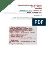 LAMPEA-Doc 2012 - numéro 44 / vendredi 14 décembre 2012