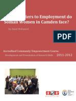 Barriers to employment- Somali women in Camden