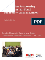 Barriers to accessing employment for south Sudanese women in London