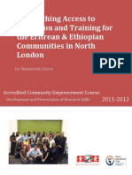 Researching access to education and training for Eritrean and Ethiopian communities in north london