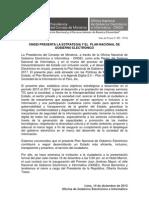 Presentación de la Estrategia y el Plan Nacional Gobierno Electronico del Perú