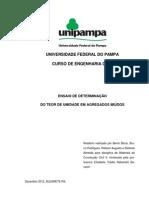 ENSAIO DE DETERMINAÇÃO DO TEOR DE UMIDADE EM AGREGADOS MIÚDOS