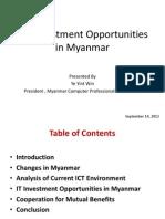 ICT Investment Opportunities in Myanmar(U Ye Yint Win)