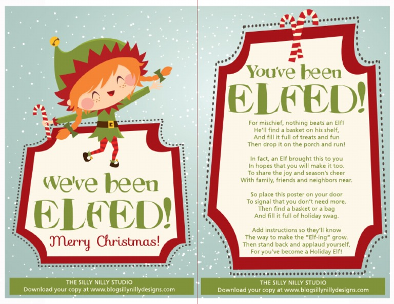 photograph about You've Been Elfed Free Printable called The Foolish Nilly Studio Youve Been Elfed