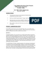Final Exam Questions- POLS 7400s Public Administration